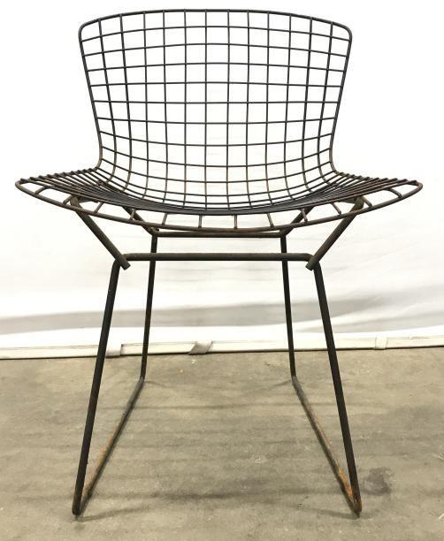 Set 4 MCM Black Metal Harry Bertoia Knoll Chairs