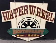 Vintage Custom Restaurant Pole Sign Â'Water WheelÂ' 4ft