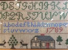 Antique Needlepoint Alphabet Sampler
