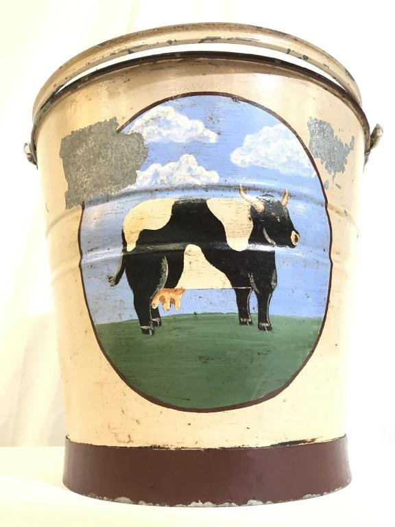 Hand Painted Metal Bucket W Image Of Cow