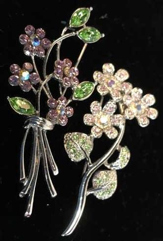 Vintage Rhinestone Floral Brooches, Lot 5