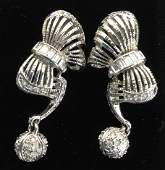 Rhinestone Clip On Crafts Era Earrings