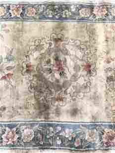 Vintage Handmade Floral Detailed Wool Pile Rug
