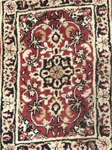 Floral Detailed Fringed Wool Rug