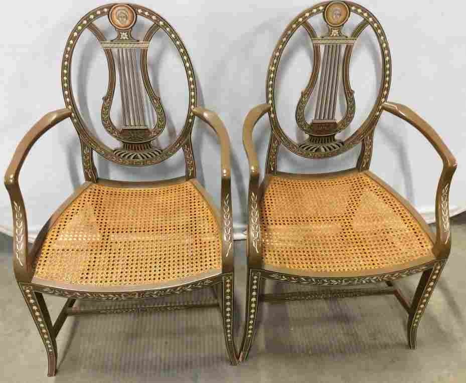 Pair BAKER FURNITURE Hand Painted Wooden Chairs