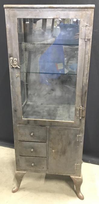Vintage Metal And Glass Display Cabinet