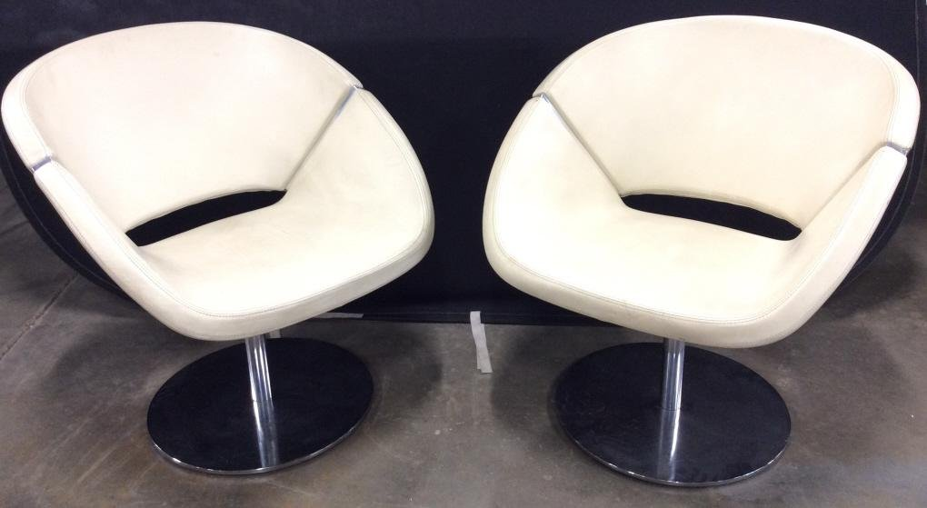 Pr Italian 1990 Leather Swivel Chairs Chrome Bases