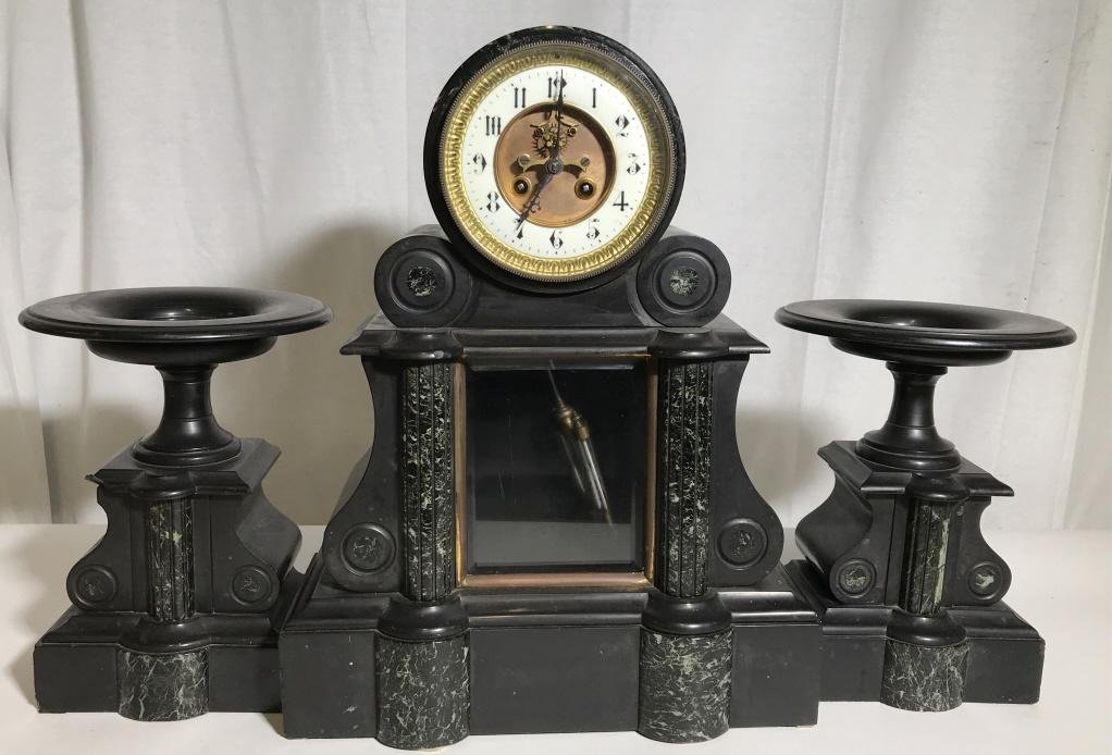 Antique French Marble Clock W Garnitures