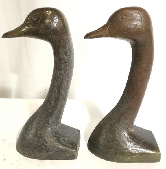 Vintage Cast Iron Duck Bookends