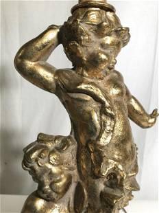 Vintage Gold Leafed Footed Cherub Lamp