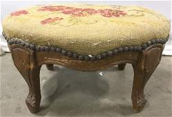 Antique Needlepoint Carved Wooden Footstool