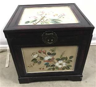 Vintage Hand Painted Carved Wooden Storage Chest