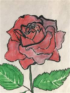 Rose Drawing On Paper After Andy Warhol