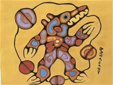 'Medicine Bear' after Norval Morrisseau, Gouache