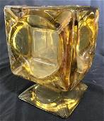 Heavy Murano Glass Planter Vase, Amber Colored