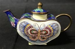 Hand Painted Vintage Enamelware Tea Pot Figural
