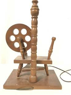 Mid Century Spinning Wheel Wood Lamp c1950s