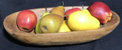 Centerpiece Fruit Display w/ Carved Wood Bowl