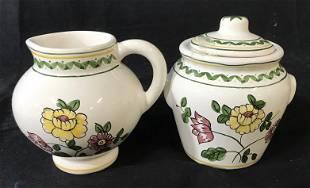 Casafina Hand Painted Creamer Sugar Bowl