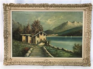 Signed TOSELLO Oil On Canvas European Lakefront