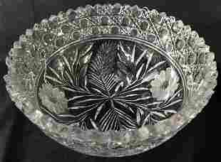 Vintage Hand Cut Crystal Saw Tooth Bowl