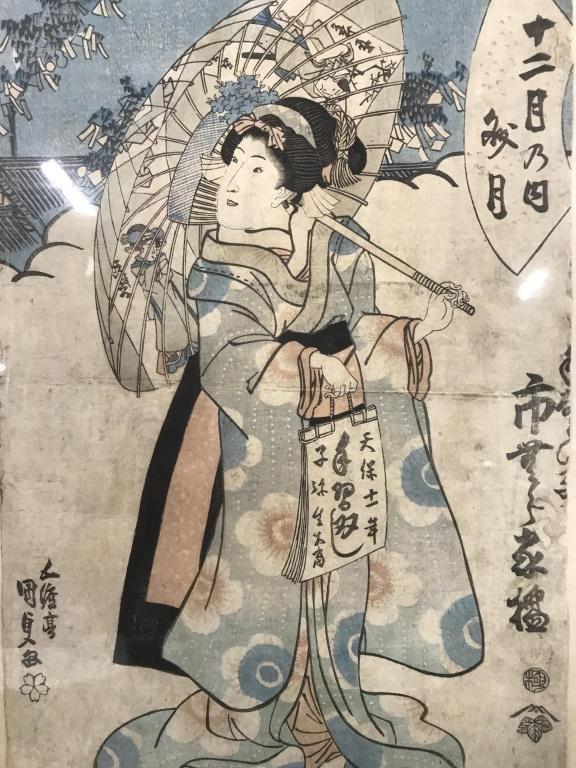 Antique Japanese Woodblock Geisha Print