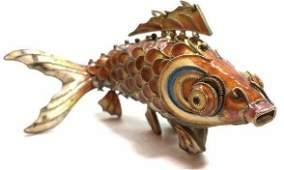 Enamel Cloissone on Sterling Fish Charm