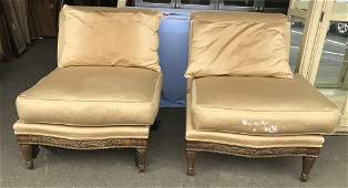 Pair Vintage Upholstered Carved Wooden Chairs