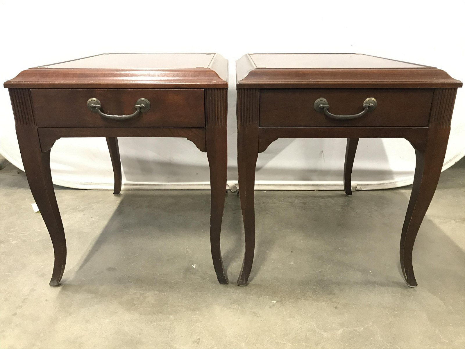 Pair Vintage ETHAN ALLEN Carved Wooden Side Tables