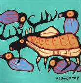 Moose Painting on Paper, after Norval Morrisseau