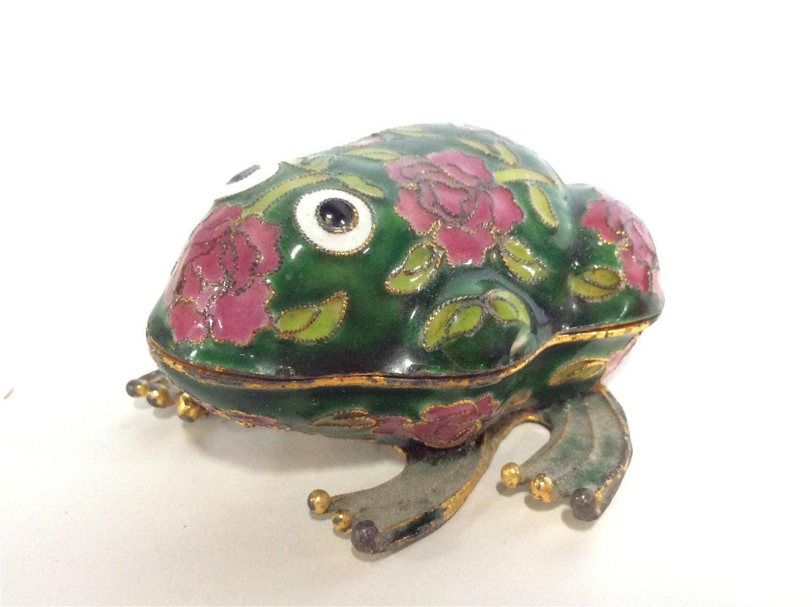 Vintage Enameled Floral Frog Trinket Box