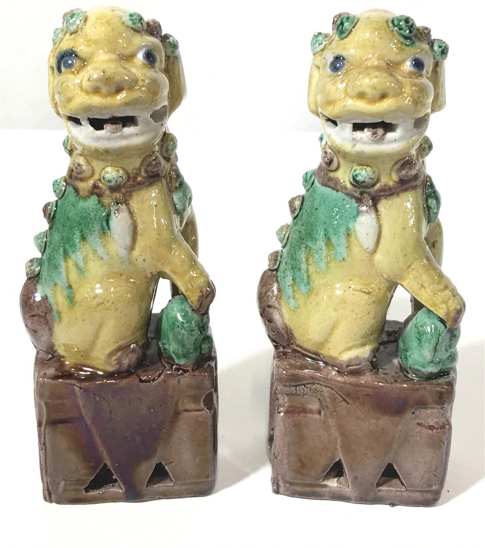 Pair Ceramic Foo Dogs