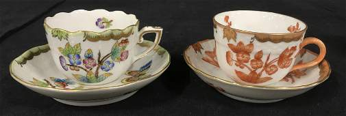 HEREND Hand Painted Porcelain Cups  Saucers
