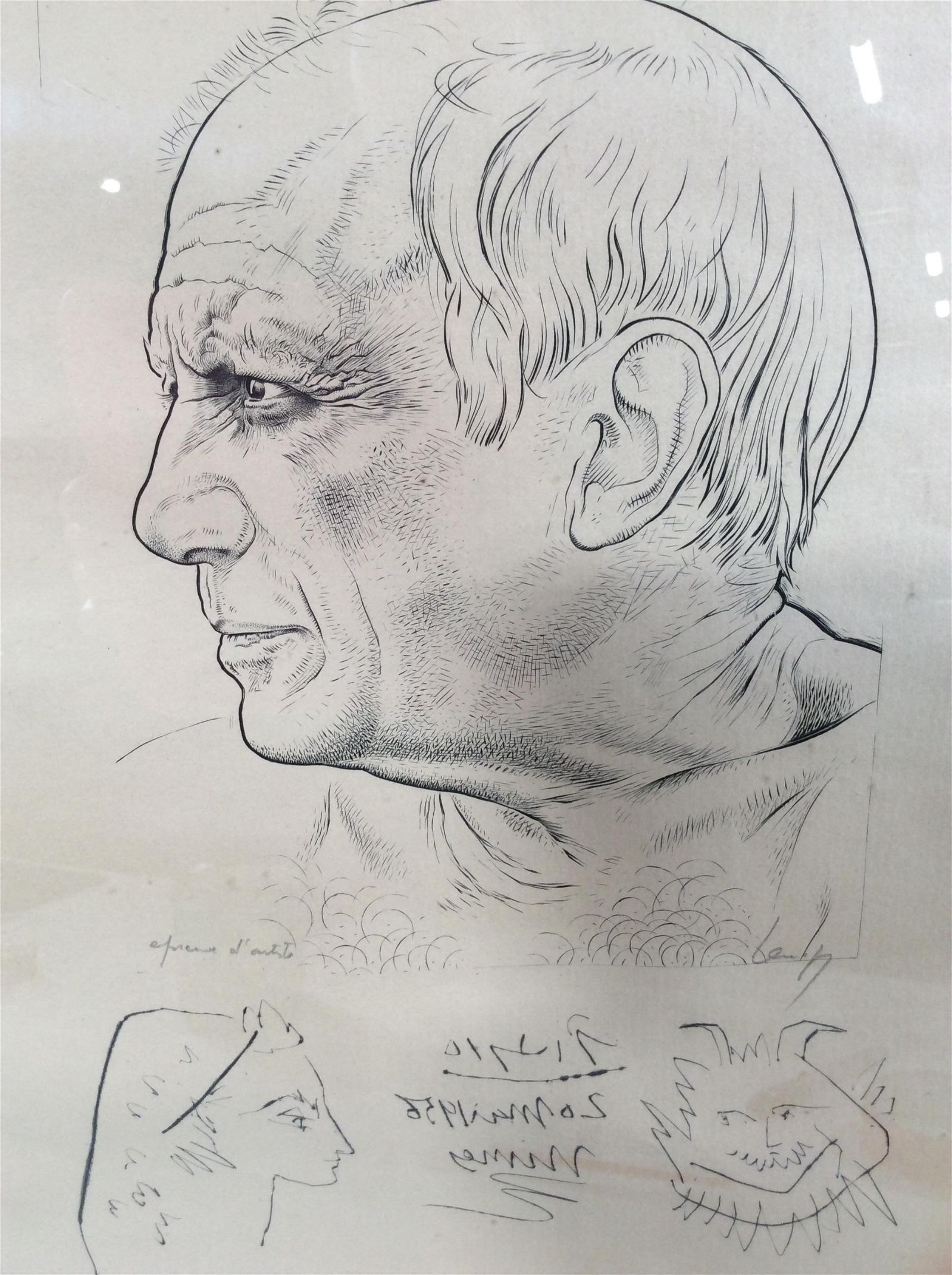 Signed Artist's Proof Portrait of Picasso Etching