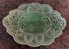 Signed Majolica Style Oak Leaf Platter