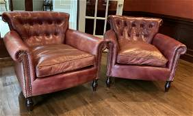 Pr George Smith Red Leather Club Chairs