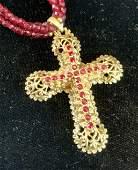 Vintage KJL Garnet Toned Bead Necklace w Cross