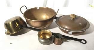 Group Antique Copper Brass Kitchen Ware
