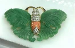 KJL Jade Style Enamel Butterfly