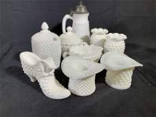 Group Lot Collectible Hob Nail Milk Glass