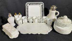 Group Lot Vintage Antique Milk Glass Tableware,