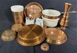 Vintage Copper Porcelain Group Lot