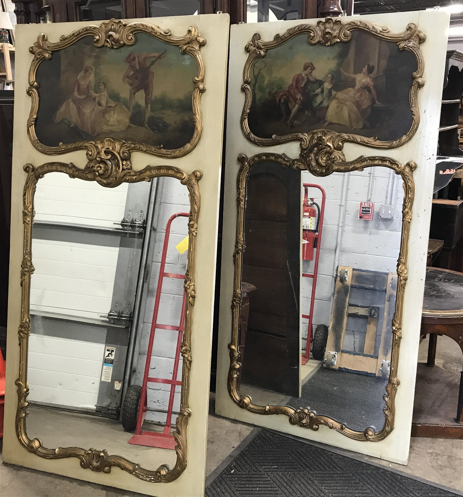 Pair-6 ft French Trumeau Hand Ptd Mirrors