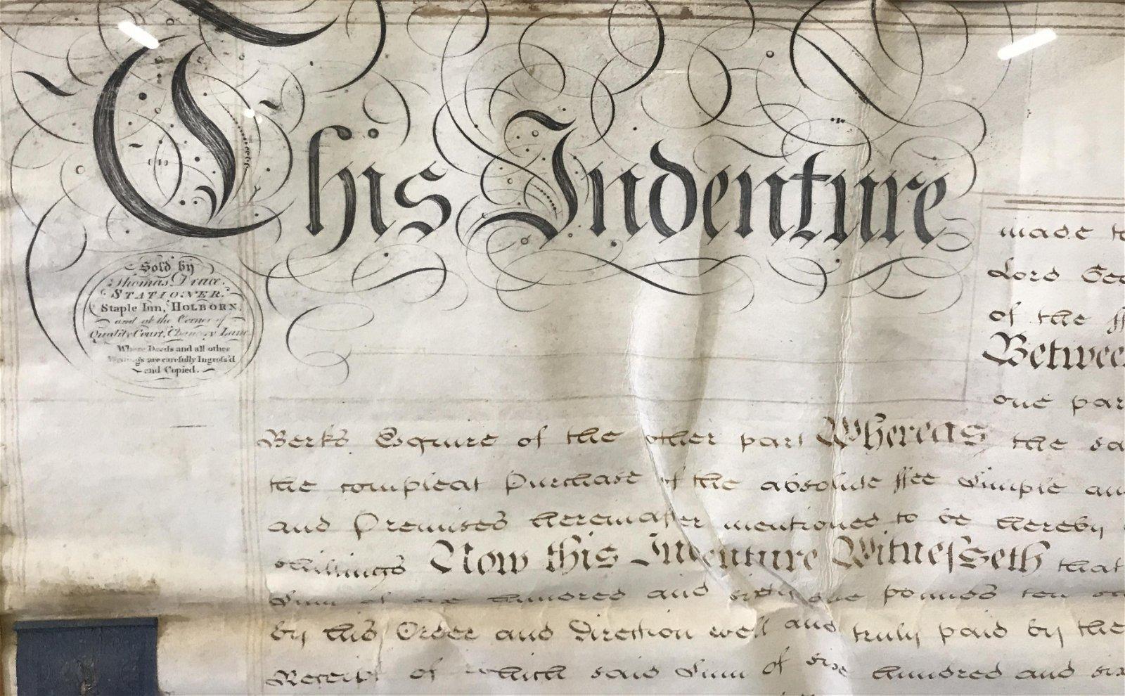 Antique English Indentured Servitude Contract