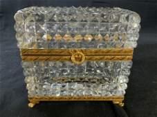 Vintage Gilded Bronze Cut Glass Dresser Box