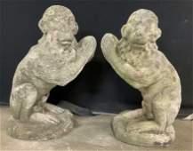 Pair Concrete Stone Monkey Garden Statues