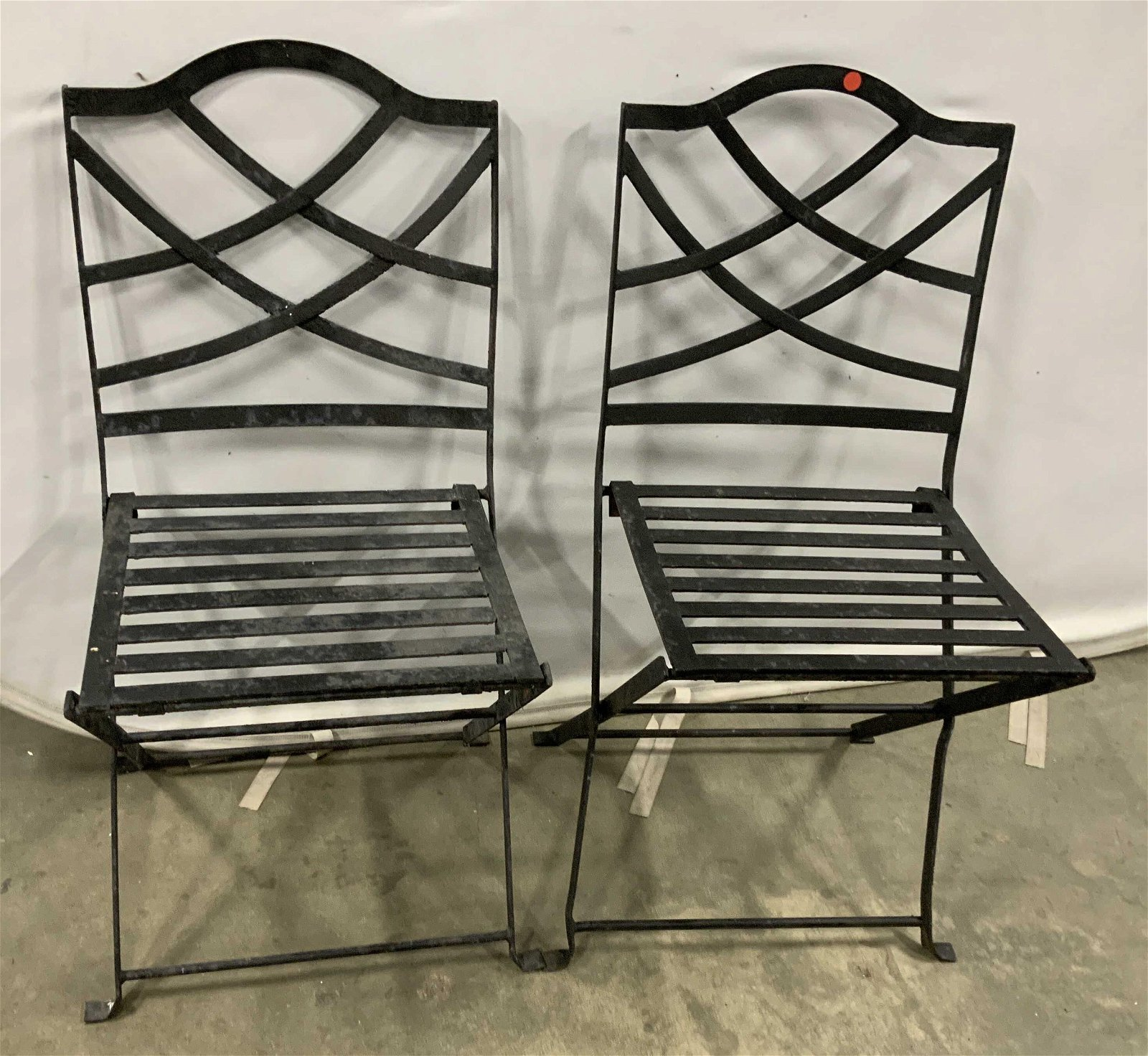 Pair Painted Metal Iron Vintage Garden Chairs