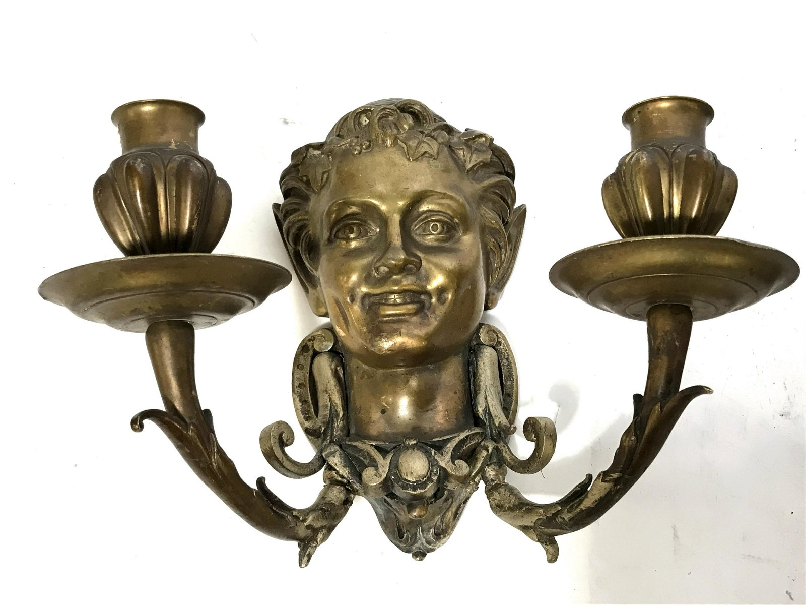 Pair of Antique Gilded Bronze Wall Sconces