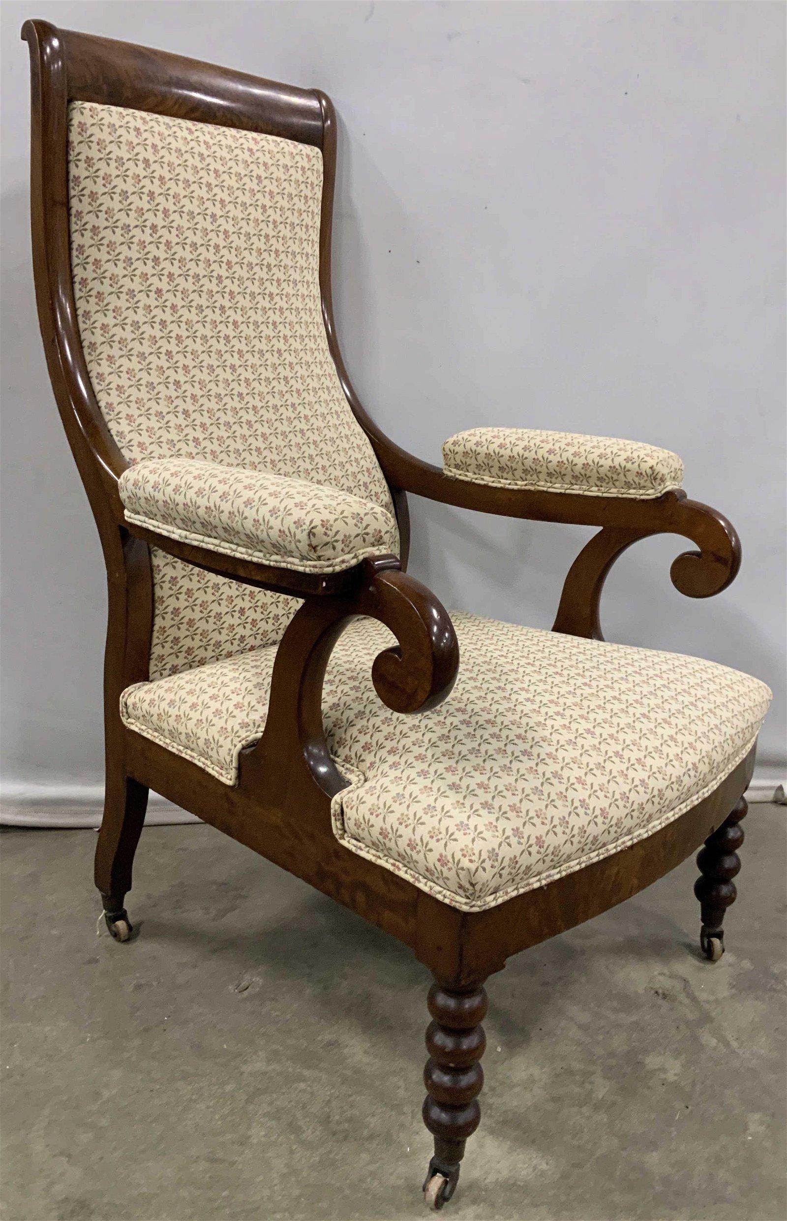 Antique Victorian High Back Arm Chair, C1850