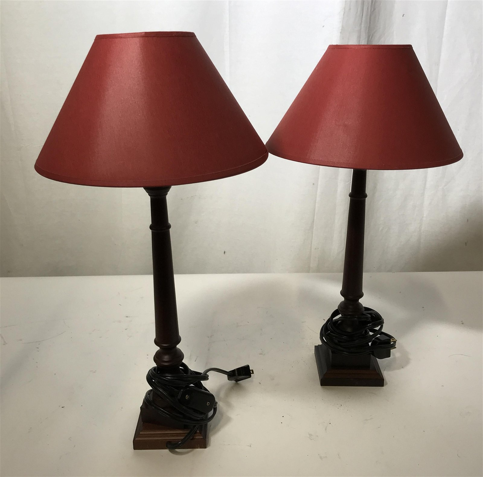 Pair of Wooden Lamps with Red Shades